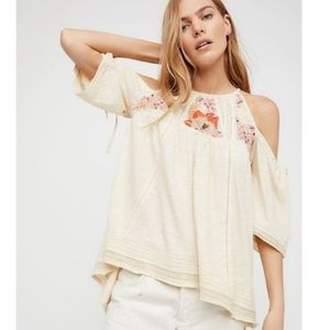 Free People Fast Times Cold Shoulder Cream Top